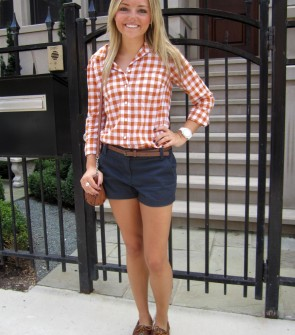 orange gingham jcrew shorts sperrys