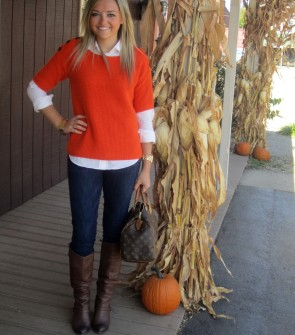 orange sweater brown boots