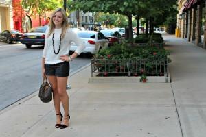 Zara Sweater Leather Shorts