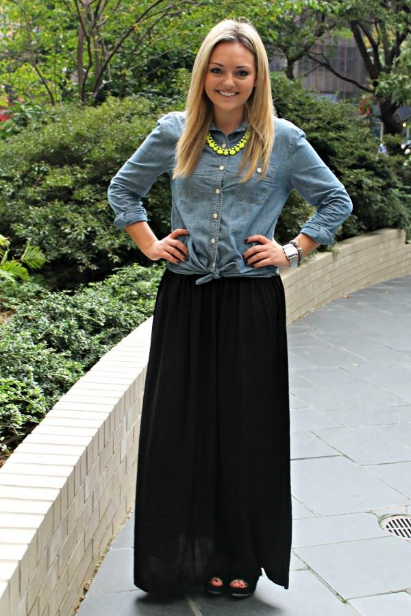 chambray shirt maxi skirt bows sequins