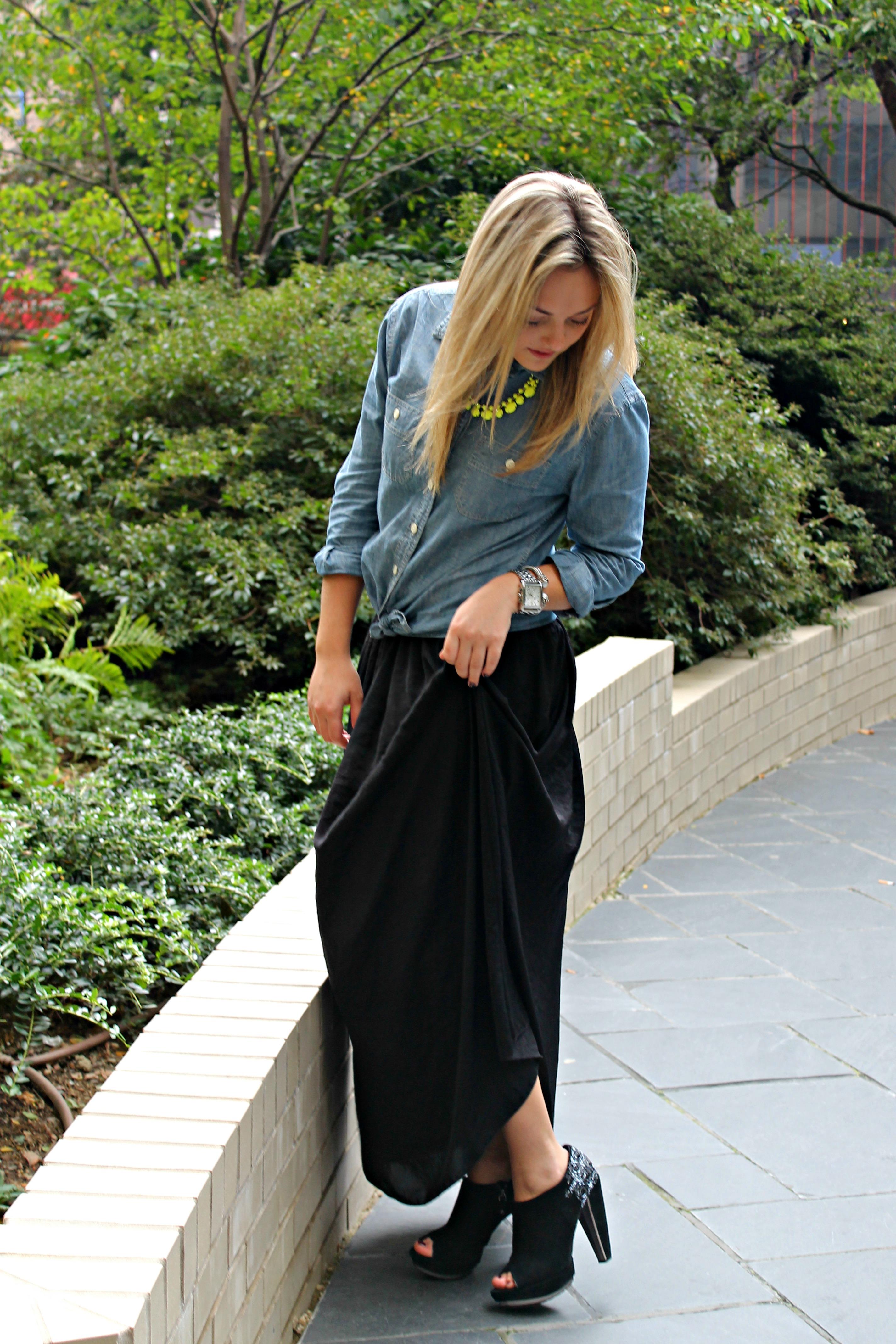 fall maxi skirt bows sequins