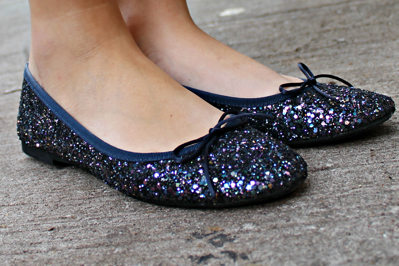1a2a8df0b1 Navy Glitter Ballet Flat — bows & sequins
