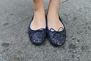 Navy Glitter Ballet Flats
