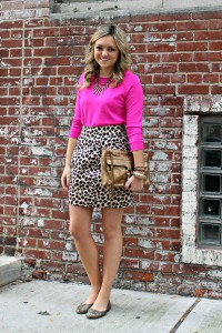 Pink Sweater & Leopard Skirt