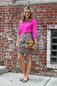 Pink Sweater & Leopard Skirt