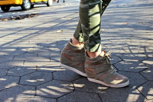 Camo Pants with Sneaker Wedges