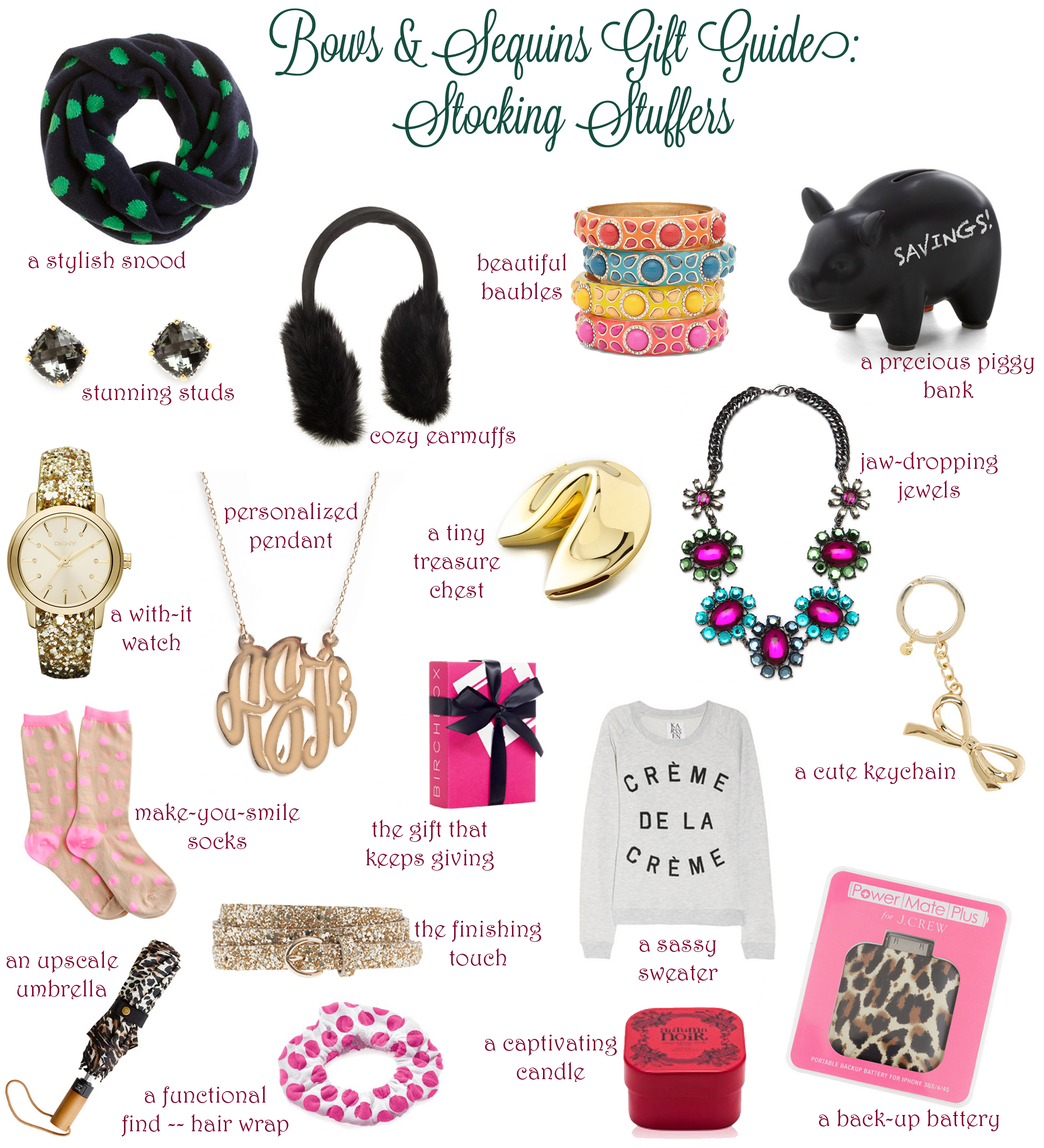 stocking stuffers bows sequins
