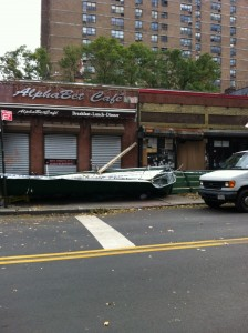 Awnings blown off of local businesses on Avenue B.