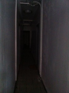 The creepy dark hallway walking in to my apartment building. Thank goodness I had my flashlight!