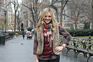 Plaid Scarf and Faux Fur