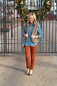 Chambray, Colored Denim, Fur Vest, Leopard Flats