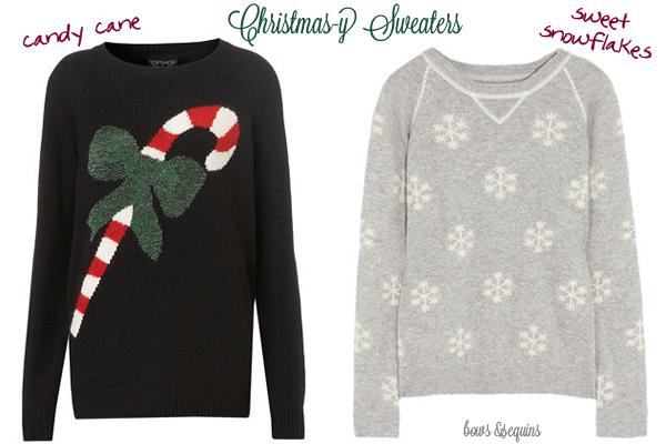Seasonal Sweaters — bows & sequins