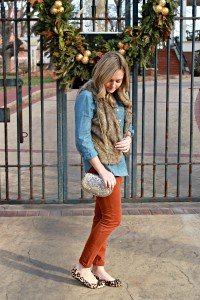 Faux Fur Vest, Chambray Top, Colored Pants, and Leopard Flats