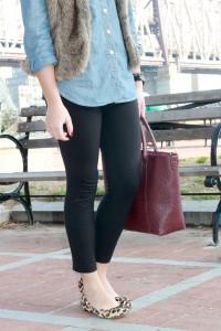 Fur Vest, Chambray Shirt, Leopard Flats {Bows&Sequins}