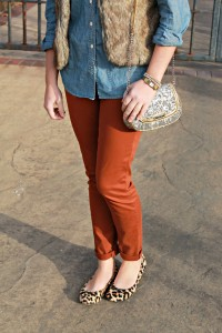 Fur Vest, Chambray Shirt, Rust Chinos, Leopard Flats, Sequin Bag