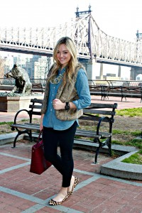 Fur Vest over Chambray Shirt