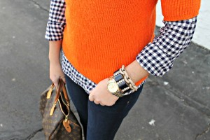 Navy Gingham with Orange Sweater