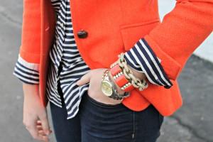 Navy and White Stripes with Orange Blazer