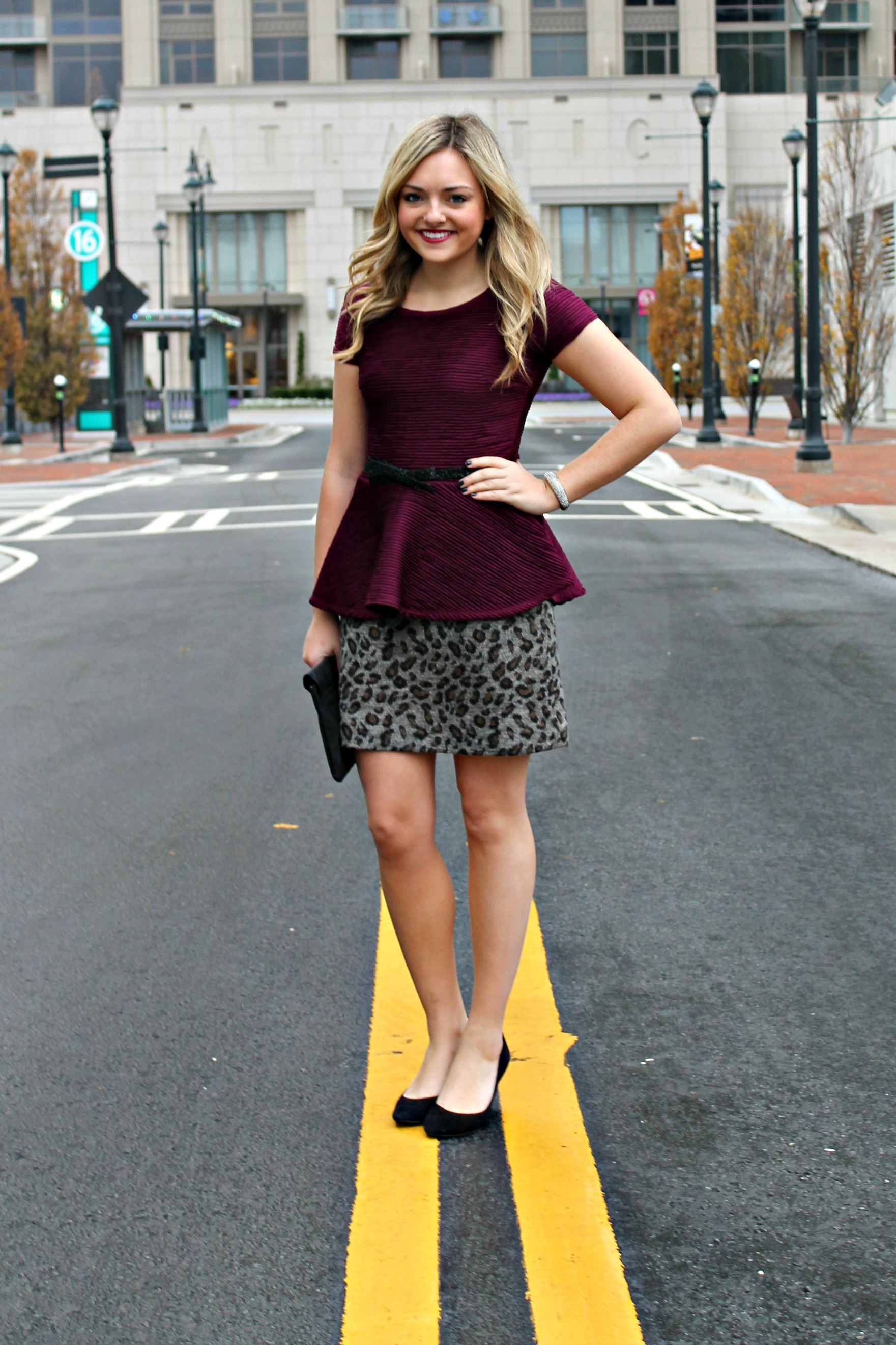 peplum top pencil skirt bows sequins