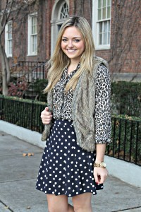 Leopard Print Shirt with Polka Dot Skirt