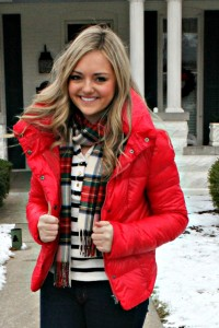 Striped Shirt, Plaid Scarf, Red Jacket