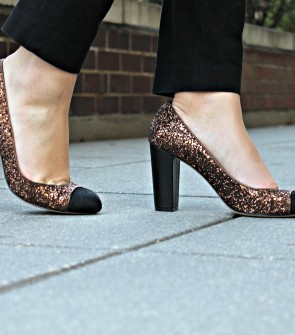 Ann Taylor Brown Glitter Pumps with Black Calf Hair Cap Toe