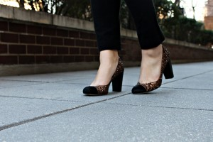 Ann Taylor Glitter Calf-Hair Cap-Toe Pumps