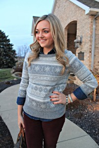 Burgundy, Fair Isle Sweater, and Chambray