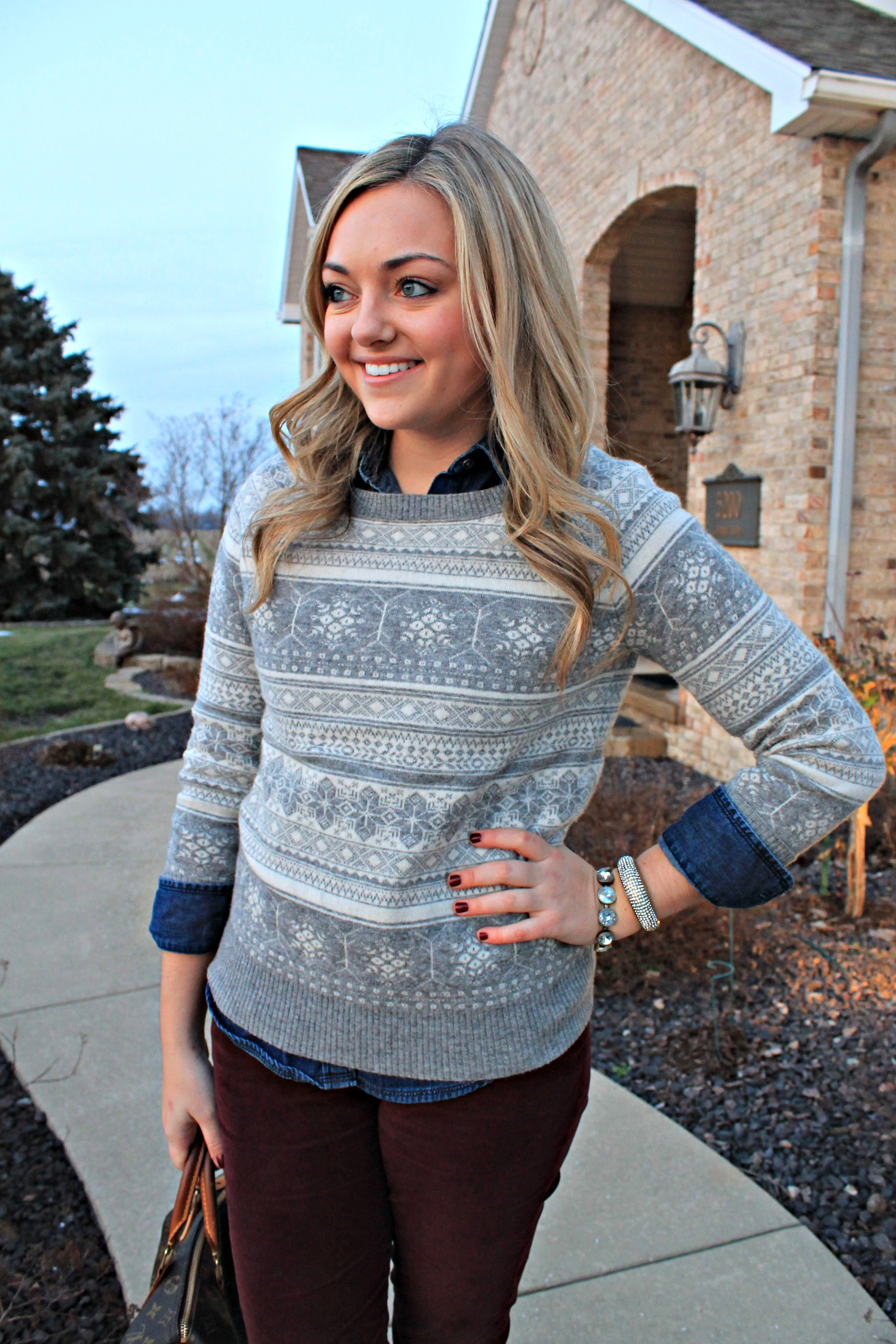 Burgundy, Fair Isle Sweater, and Chambray — bows & sequins