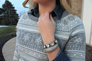 Chambray under Fair Isle Sweater