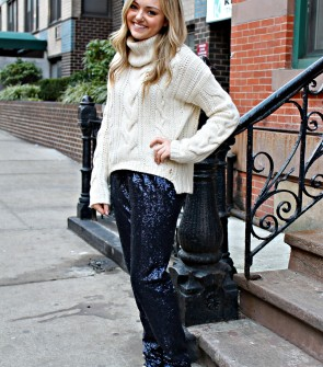 Chunky Sweater with Sequin Pants