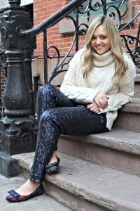Fisherman Sweater, Sequin Pants, Plaid Flats