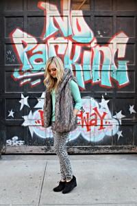 Fur Vest with Leopard Jeans