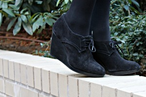 Jack Rogers Black Suede Wedge Booties