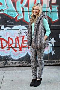 Leopard Jeans, Fur Vest, and Booties