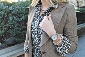 Leopard Shirt with Brown Tweed Blazer