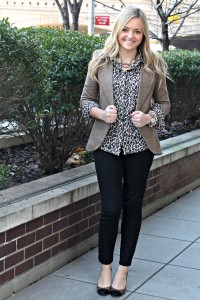 Leopard Shirt with Brown Tweed Blazer and Black Pants