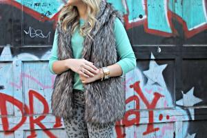 Mint Sweater with Fur Vest