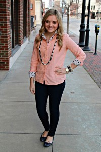 Peach & Navy Outfit