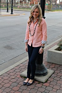 Peach Shirt & Polka Dots