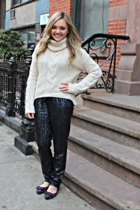 Sequin Pants Outfit Idea