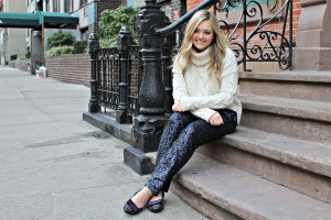 Sequin Pants with Plaid Flats