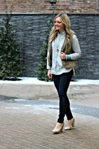 Chambray + Dark Denim + Fur Vest