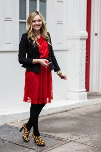 Red Lace Dress with Black Tights & Blazer