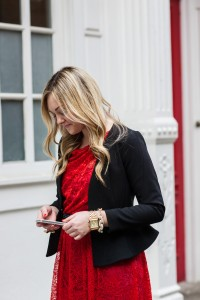 Red Lace Dress with Peplum Blazer