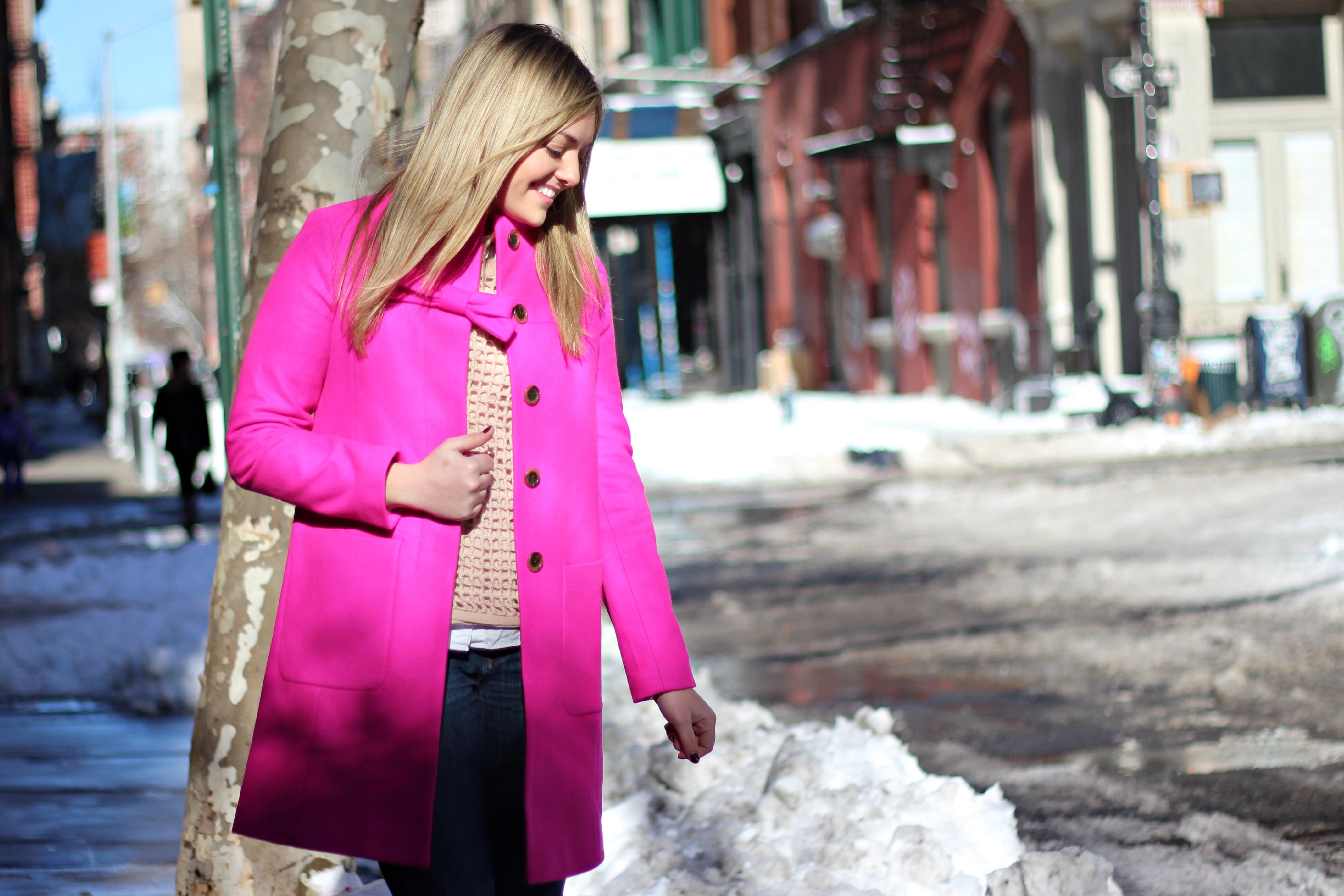 J.Crew Pink Bow Coat — bows & sequins