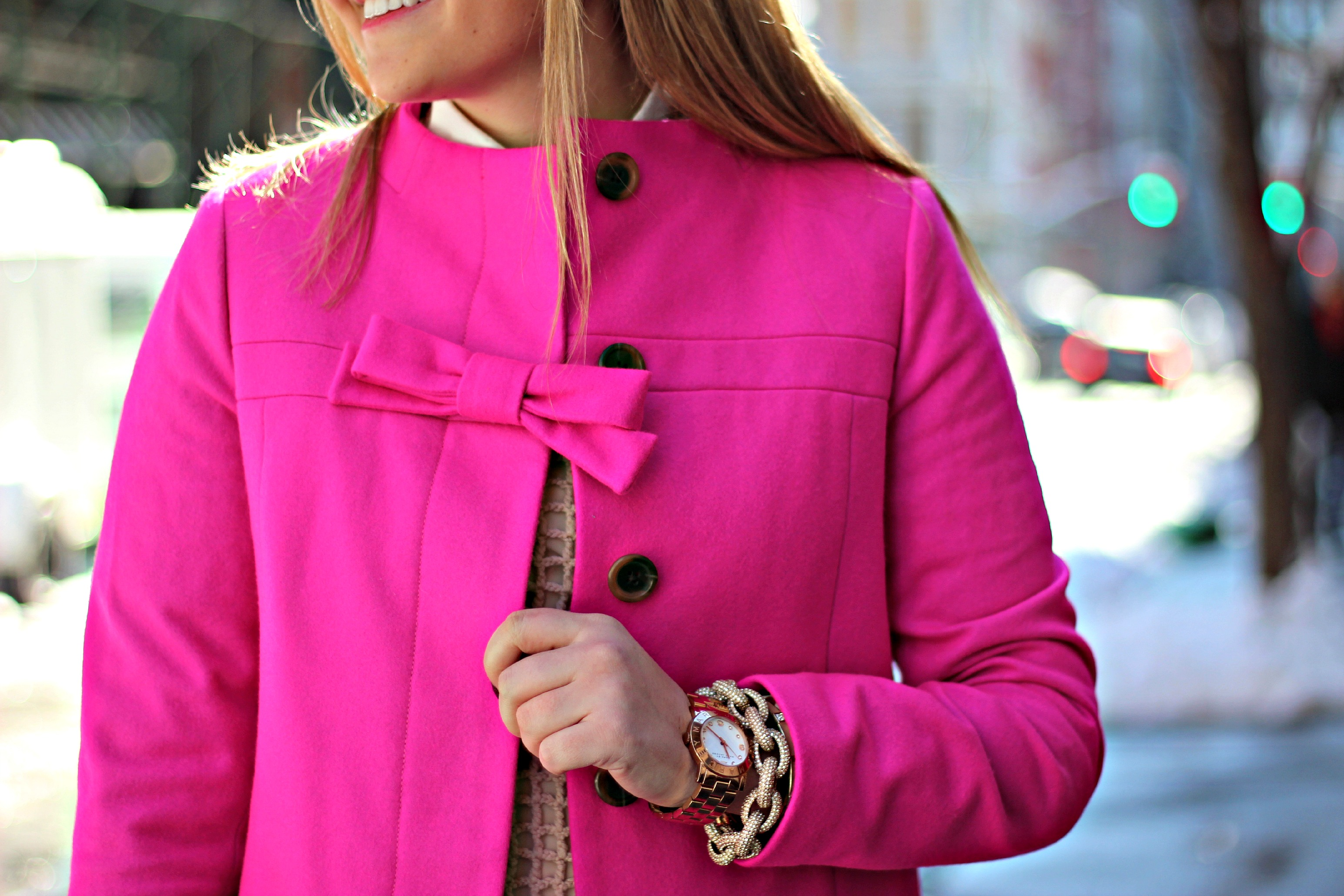 Pink Bow Coat — bows & sequins