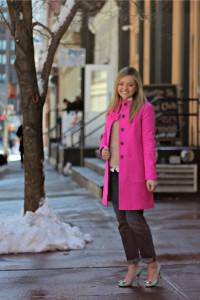 Pink Coat + Mint Pumps