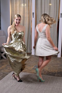Twirling in our Rent the Runway dresses!