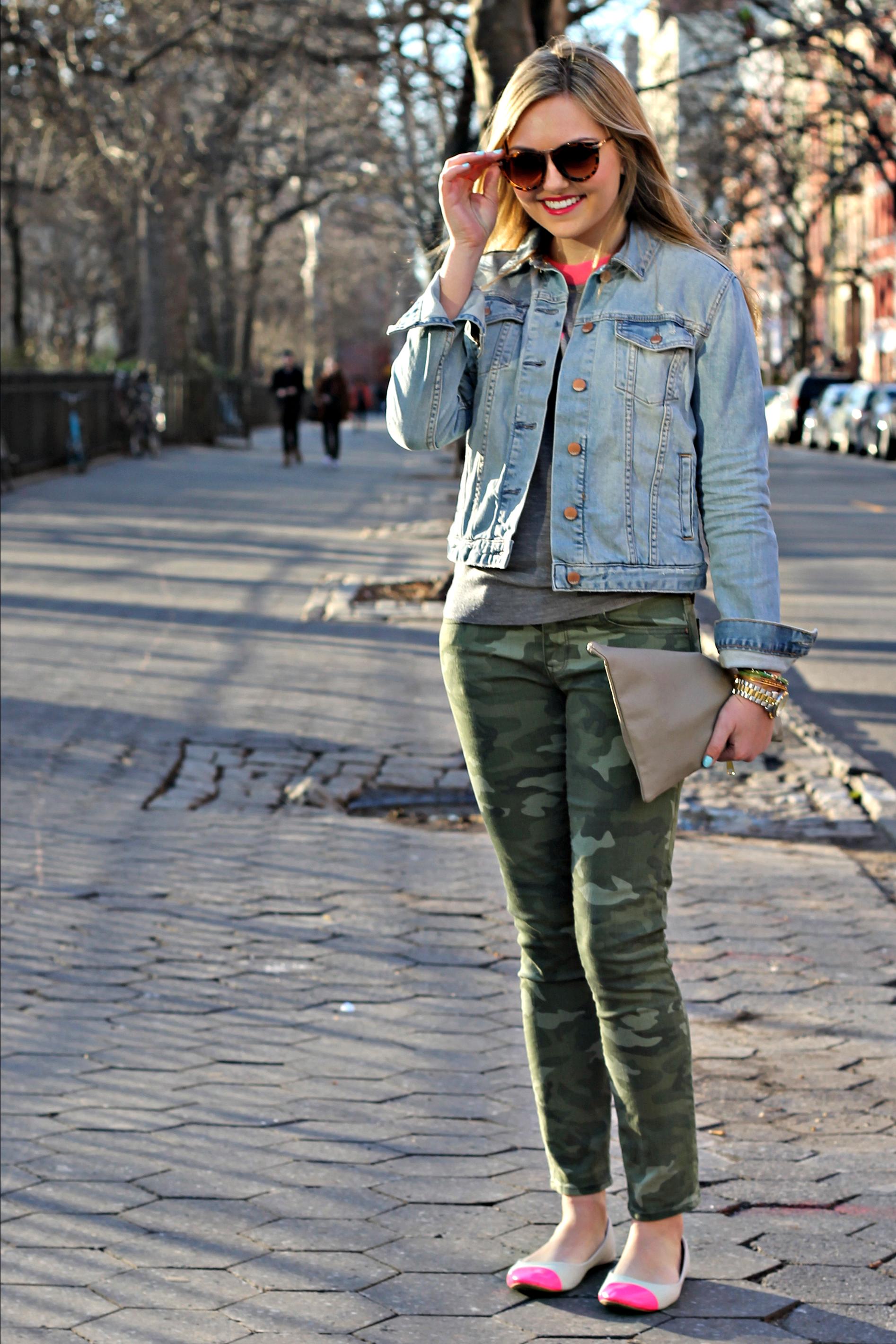 Denim Jacket + Camo Pants + Pops of Pink — bows & sequins